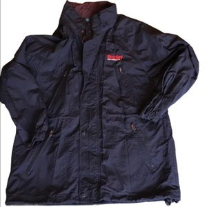 Navy and burgundy all weather rain jacket